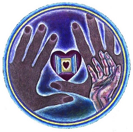 Circular painting of three hands drifting over an open window, the window shows heart within a heart.