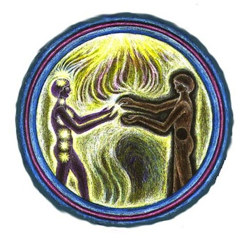 A circular painting of two people standing and touching their hands together. The person on the left has all of their chakras lit, while the one on the right has one black core.