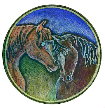 Circular painting of two horse embracing one another.