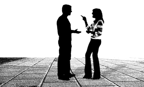A black and white silhouette of a couple in conflict, the woman is pointing at the man.