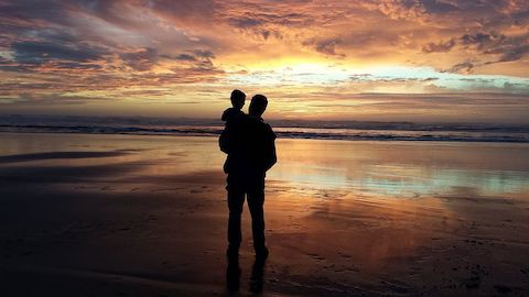 A silhouette of a man holding his toddler child in his arms on a beach viewing a sunset.
