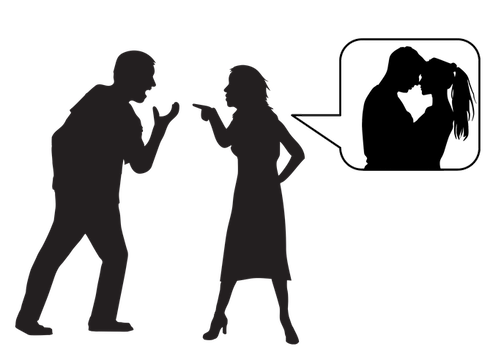 A couple arguing, with the woman imagining the man with another woman.