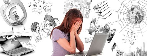 Woman showing grief, holding her hands on her face in front of a laptop with other illustrations of distractions in the background.